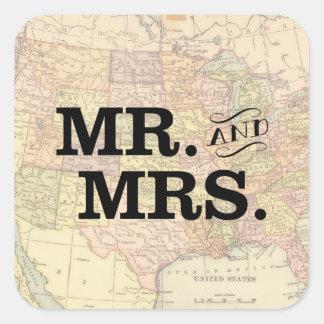 Vintager Karten-Hochzeits-Aufkleber Quadratischer Aufkleber