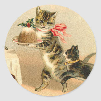 Vintager Kätzchen-Weihnachtsaufkleber Runder Aufkleber