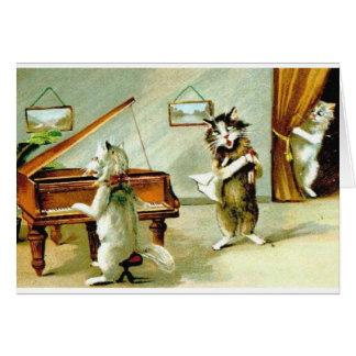 Vintager Katzen-Klavier-Erwägungsgrund und Grußkarte