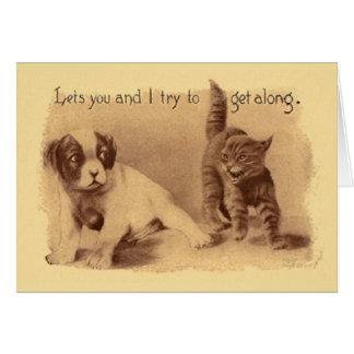 Vintager Katzen-und Hundeversuch, zum entlang Karte
