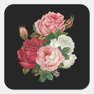 Vintager Kohl-Rose-Schwarzer Hintergrund Quadrat-Aufkleber