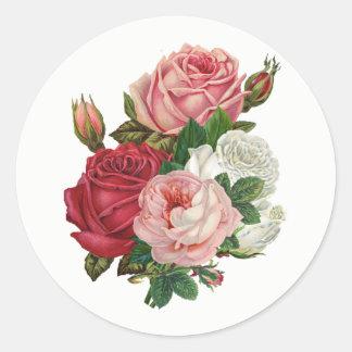 Vintager Kohl-Rose-Weißer Hintergrund Runder Aufkleber