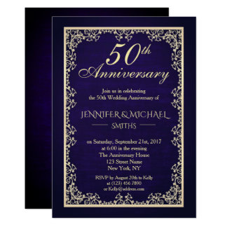 Vintager königliches Blau-Hochzeits-Jahrestag Karte
