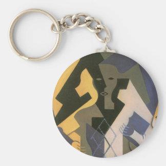 Vintager Kubismus, Harlekin an einem Tisch durch Schlüsselanhänger
