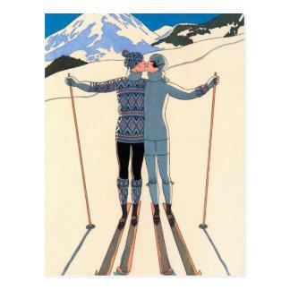 Vintager Kunst-Deko, Liebhaber im Schnee durch Postkarte