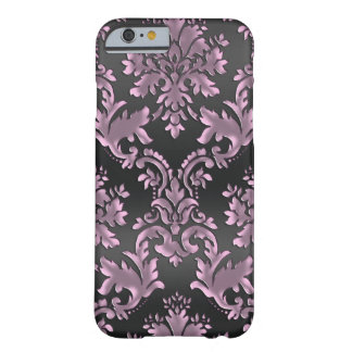 Vintager Lavendel und schwarzer Damast iPhone 6 Barely There iPhone 6 Hülle