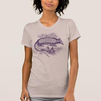 Vintager lila Gürteltier Woodblock Druck T-Shirt