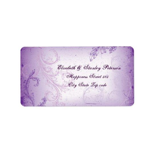 Vintager lila lila Rolleblatt-Hochzeitsaufkleber Adressetiketten