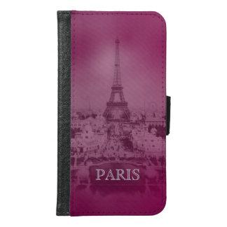 Vintager lila Paris- und Eiffel-Turm Samsung Galaxy S6 Geldbeutel Hülle