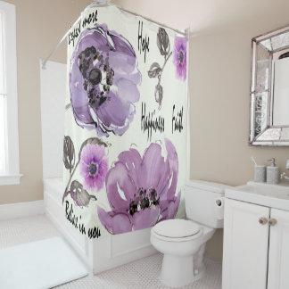 Vintager lila Rosen-Druck Duschvorhang