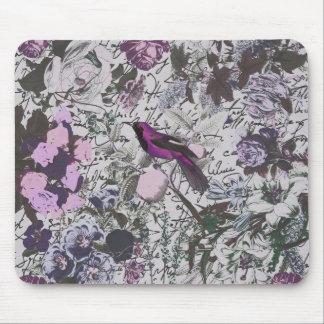 Vintager lila Vogel und Blumendruck mit Skript Mauspads
