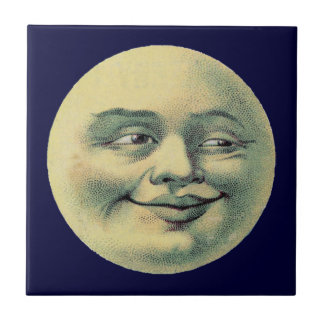Vintager Mann im Mond Keramikfliese