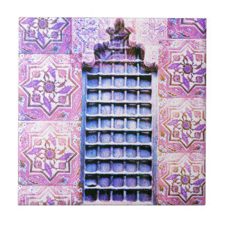 Vintager Marokko-Fenster-Rosa Oranate Boho Chic Fliese