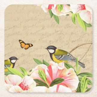 Vintager mit BlumenUntersetzer mit Vögeln Kartonuntersetzer Quadrat