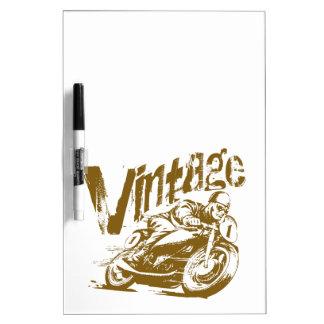 Vintager MotorradRacer Trockenlöschtafel