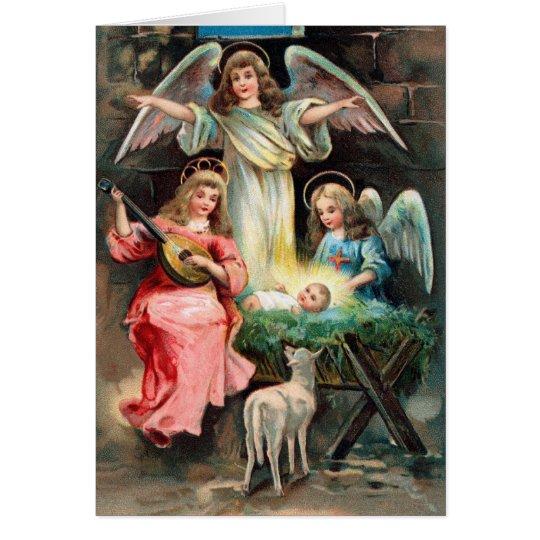 Vintager Nativity Grußkarte
