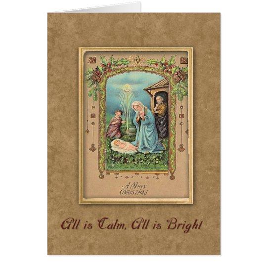 Vintager Nativity-Weihnachtsgruß Karte