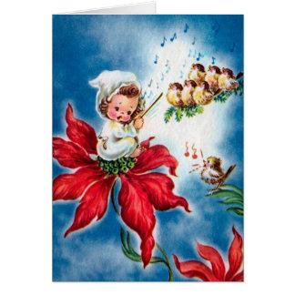 Vintager niedlicher Engel, Birdies, die Karte