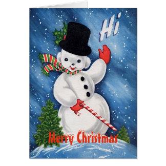 Vintager niedlicher Snowman-frohe Weihnachten Karte