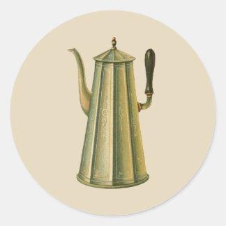 Vintager Ofen-Kaffee-Topf Runder Aufkleber
