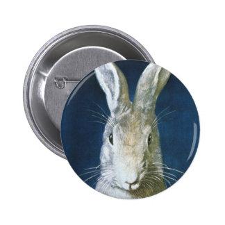 Vintager Osterhase, niedliches pelzartiges weißes Runder Button 5,1 Cm