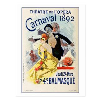 Vintager Paris-Opern-Theater-Karneval 1892 Postkarten