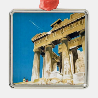 Vintager Parthenon-Tempel Reise-Athens Silbernes Ornament
