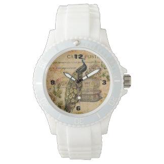 Vintager Pfau des französischen botanischen Uhr