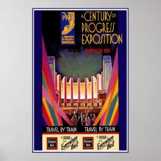 Vintager Plakat-Druck-Chicago-Zug Poster