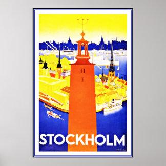 Vintager Plakat-Druck Stockholm groß Poster