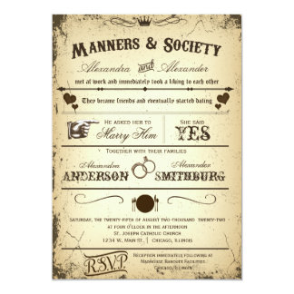 Vintager Playbill Storyline-formale Hochzeit laden Karte