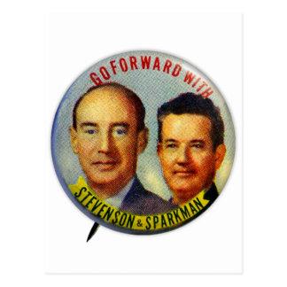 Vintager politischer Knopf KitschStevenson Postkarten