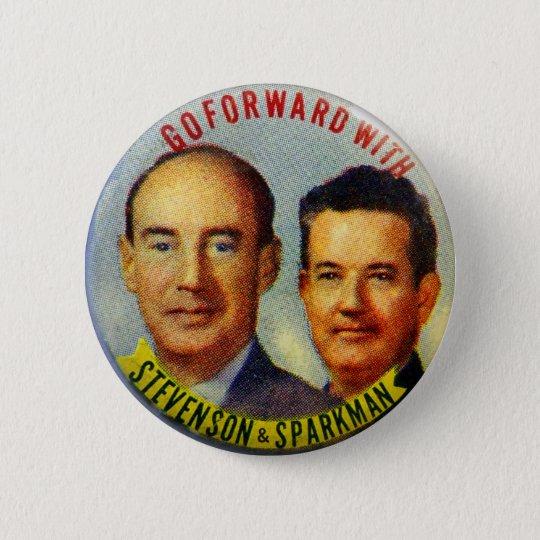 Vintager politischer Knopf KitschStevenson Runder Button 5,1 Cm