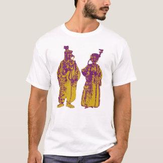 Vintager Pop-Kunst-Gasmaske-Paar-T - Shirt