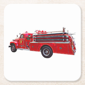Vintager Pumper-Feuer-Motor Rechteckiger Pappuntersetzer