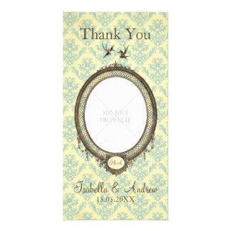 Vintager Rahmen auf Damast-Hochzeit danken Ihnen Fotogrußkarten