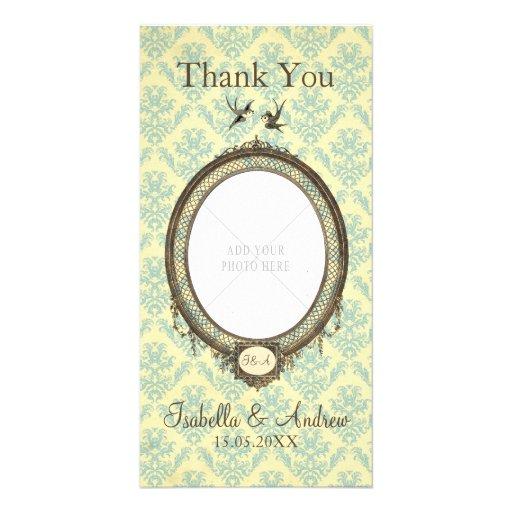 Vintager Rahmen auf Damast-Hochzeit danken Ihnen Photo Grußkarte