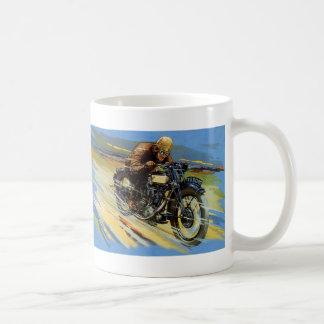 Vintager Reise-Transport, Motorrad laufend Kaffeetasse