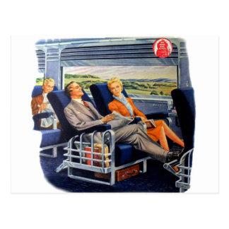 Vintager Retro Kitsch-Zug-Luxuszug-Reisende Postkarte