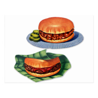 Vintager Retro Menü-Hamburger-Cheeseburger Postkarte
