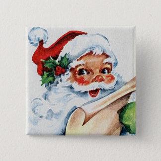 Vintager Retro Weihnachtsmann-Kunst-Quadrat-Knopf Quadratischer Button 5,1 Cm