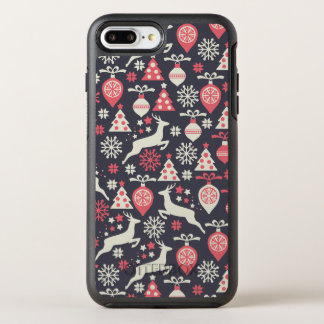 Vintager Retro Weihnachtsmuster-Feiertag OtterBox Symmetry iPhone 7 Plus Hülle