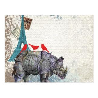 Vintager Rhino Postkarte