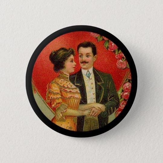 Vintager romantischer Paarevalentine-Knopf Runder Button 5,1 Cm