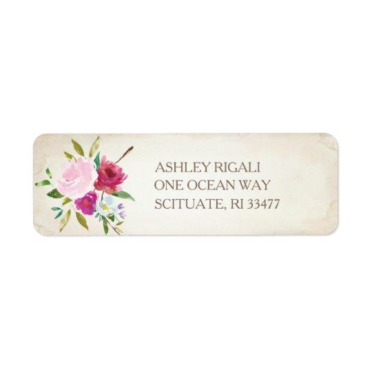 Vintager rosa BlumenRücksendeadresse-Aufkleber