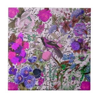 Vintager rosa und lila Vogel und mit Blumen u. Kleine Quadratische Fliese