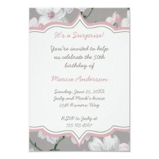Vintager rosa weißer Hartriegel-BlumenParty 8,9 X 12,7 Cm Einladungskarte
