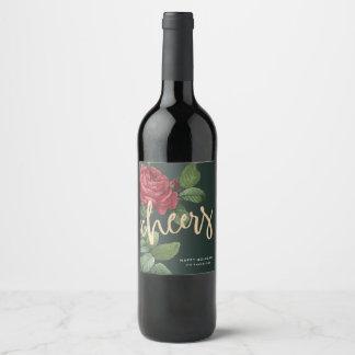 Vintager Rosen-Feiertag jubelt Wein-Aufkleber zu Weinetikett