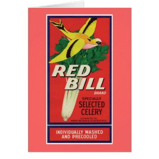 Vintager roter Bill-Sellerie-Aufkleber Karte