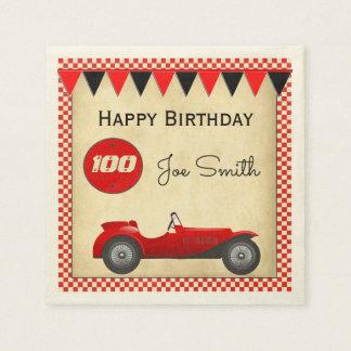 Vintager roter Rennenauto- und -flaggen100 Papierservietten